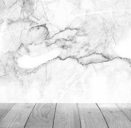 Backdrop white marble wall and wood slabs arranged in perspective texture background.