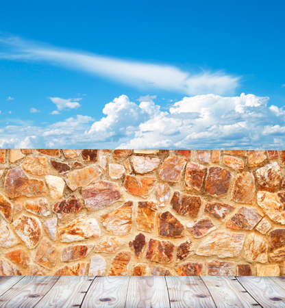 wooden floors: Stone walls and sky, wooden floors. Stock Photo
