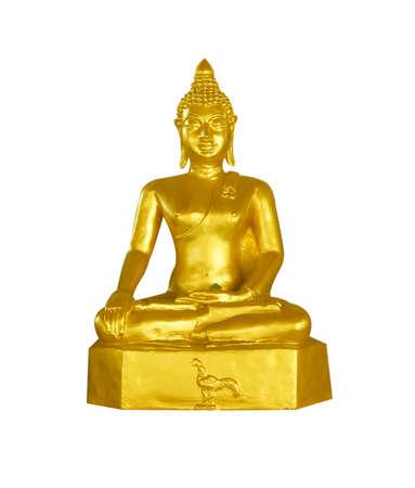 venerable: Buddha statue isolated on white background.