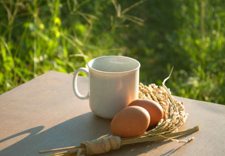 atmosphere: Morning coffee and grains aroma Atmosphere Prof.,Rice, boiled eggs Stock Photo