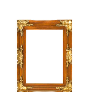 Wooden photo frame isolated on white background 版權商用圖片