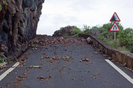 Rockfall after a storm