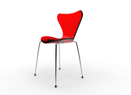 view of a spacious living room: Red Modern Glass Chair