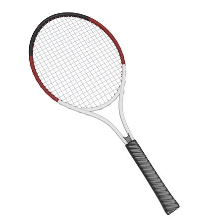 racquet: Tennis racquet - white with black handles