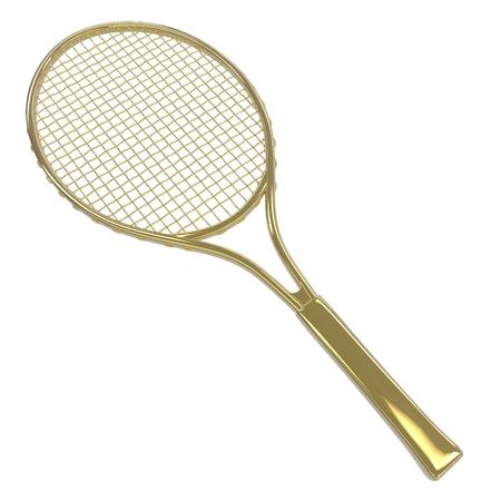 racquet: Gold Tennis racquet Stock Photo