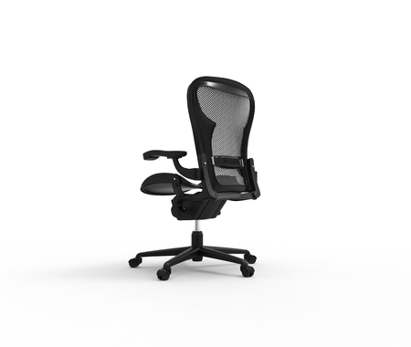 elbow chair: Black Modern Office Chair Side Back View Stock Photo