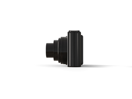 megapixel: Black modern compact digital photo camera - side view