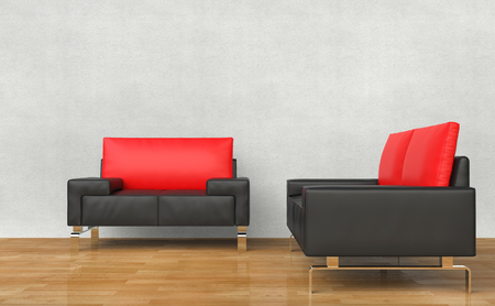 armchairs: Black And Red Armchairs Stock Photo