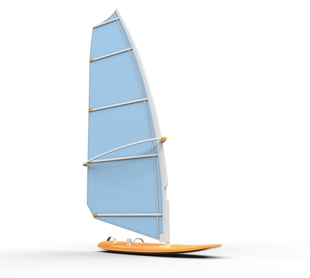 Windsurf board - light blue sail, isolated on white background, ideal for digital and print design.