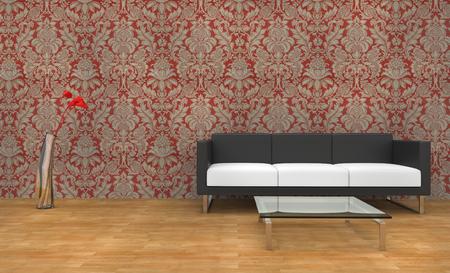 vase plaster: Modern Vintage Wallpaper Living Room