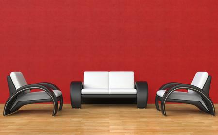 赤のリビング ルーム現代的なスタイル 写真素材 - 44871904