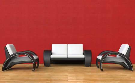 contemporary living room: Red Living Room Contemporary Style Stock Photo