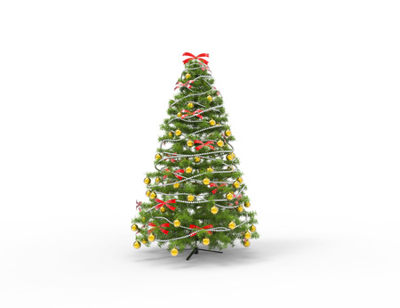 Christmas Tree With Bows and Yellow Decorations