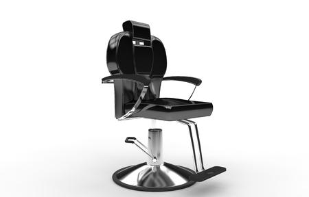 hair stylist: Black Shiny Hair Stylist Armchair Stock Photo