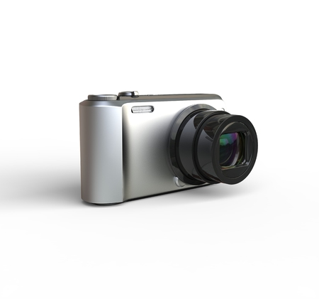 megapixel: Small silver camera on white background - rotated, ideal for digital and print design.