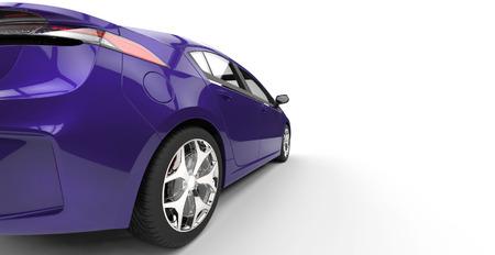紫色の電気車の背面図