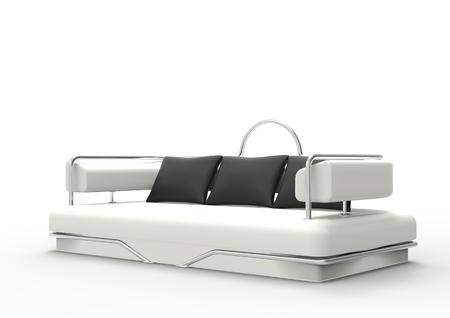 white sofa: White Sofa With Black Pillows