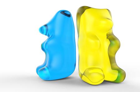 青と黄色の粘着性のクマ 写真素材
