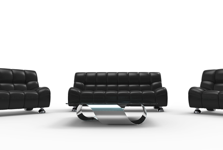 leather furniture: Modern Living Room Leather Furniture Set Stock Photo