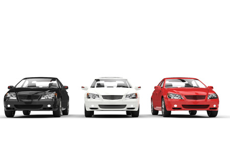 car isolated: Black, White, and Red Cars Showroom