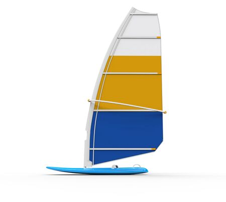 sailboard: Windsurf board - side  view, shot on white, ideal for digital and print design.