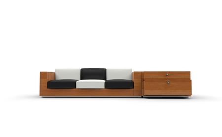 white sofa: Black And White Wooden Sofa