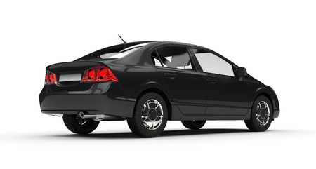 car side view: Black Business Car Side View 2 Stock Photo