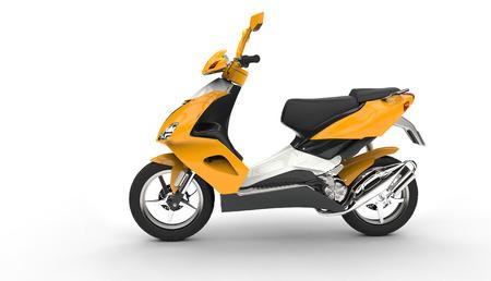 黄色のスクーターのサイドビュー