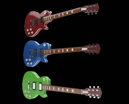 hardrock: Three Guitars On Black Background