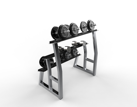 barbel: Weights On A Stand Stock Photo