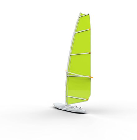sailboard: Green windsurf board, isolated on white background, ideal for digital and print design.