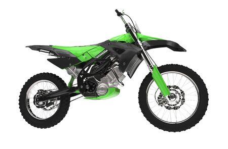 super cross: Green Dirt Bike Side View