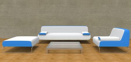 modern living room: Modern Living Room Set Blue Stock Photo