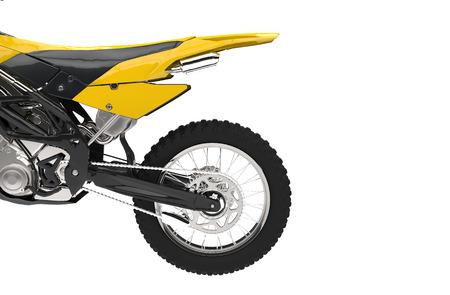 super cross: Amarillo secci�n de cola de la bici Foto de archivo