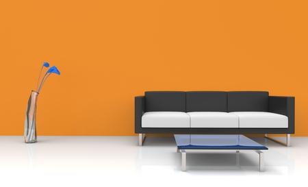 vase plaster: Modern Orange Living Room