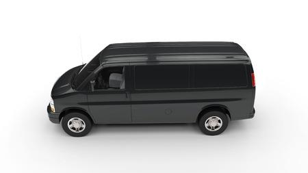 Black Van Side View Stockfoto