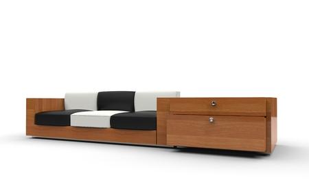 white sofa: Black And White Pillowed Sofa