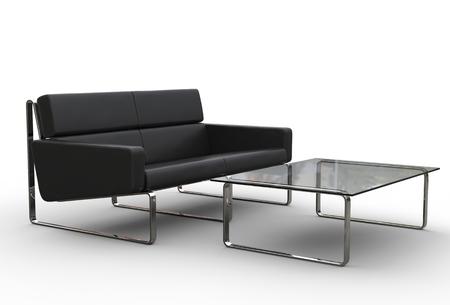 Noir Canapé Et Table en verre