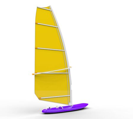 sail board: Windsurf board - yellow sail, isolated on white background, ideal for digital and print design.