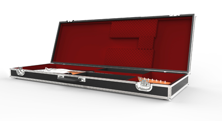 guitar case: Guitar And Guitar Case Stock Photo