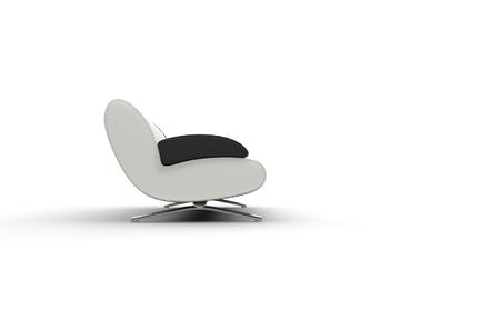 white sofa: White Sofa With Black Armrest Stock Photo