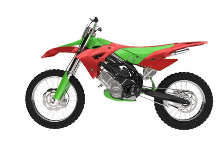 super cross: Green Red Motorcycle Stock Photo
