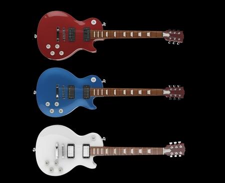 tremolo: Three Electric Guitars On Black Background