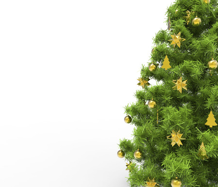 Christmas Tree With Yellow Decorations