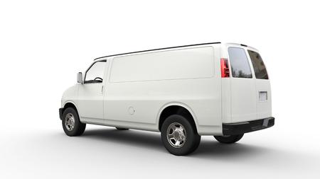 白いバンの背面図