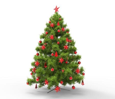 Árbol de navidad con las decoraciones rojas