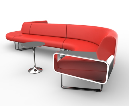 red sofa: Red Retro Sofa