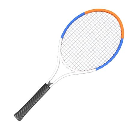 racquet: Tennis racquet - White, Blue and Orange