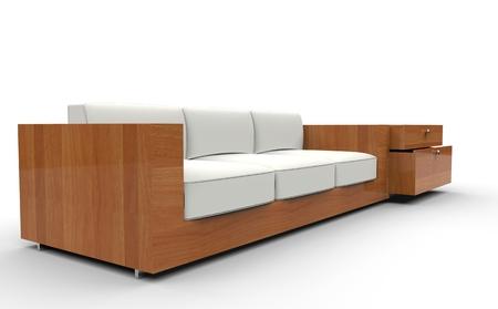 white sofa: Wooden White Sofa Stock Photo