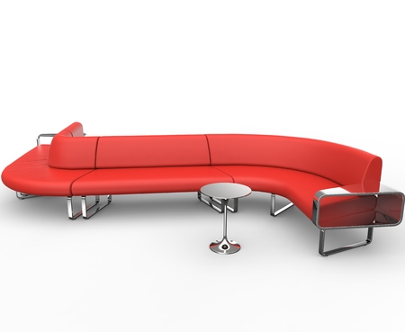 red sofa: Red Curved Lounge Sofa